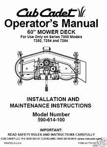 Cub Cadet 60 U0026quot  Mower Deck Op Manual Model No 590