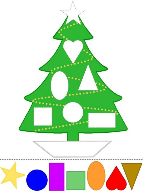 tree craft learn shapes color template
