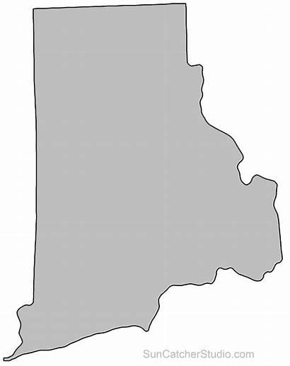 Rhode Island Outline Map State Shape Stencil