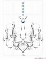 Chandelier Draw Drawing Step Tutorials Drawings Beginners Supercoloring sketch template