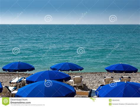 Nice Beach With Umbrellas Stock Image Image Of