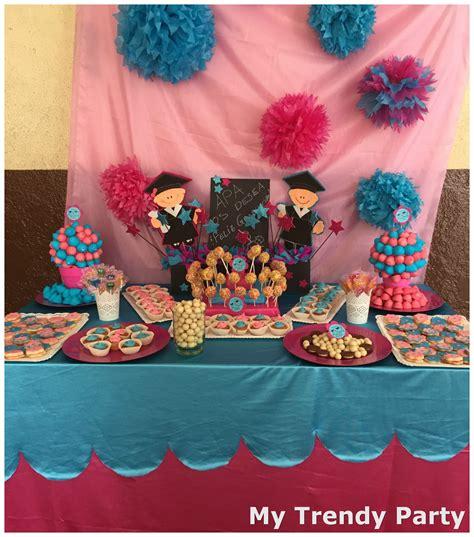 adornos de mesa para graduados graduaci 211 n infantil mesa dulce rosa y azul my trendy