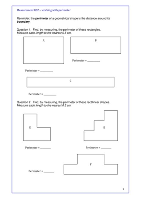 maths ks2 perimeter and area year 5 and for revision and