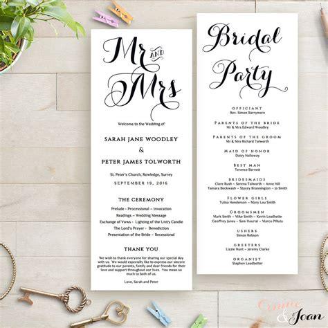 printable wedding program order of service template wedding ideas wedding