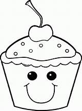 Coloring Pages Cute Cupcakes Cupcake Adults Popular sketch template