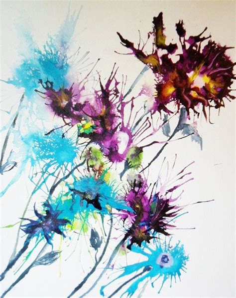 Abstract Floral Painting In Ink 18 X 145 Inches