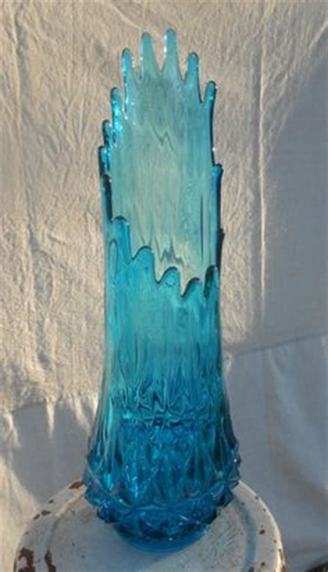 Teal Glass Floor Vase by Vintage Viking Glass Swung Vase Blue 18 1 2 Quot Mid Century