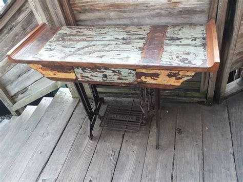 reclaimed teak desk sewing machine base sarasota