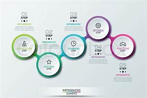 Infographic Design Template With 5 Connected Circular