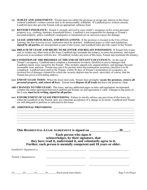 michigan  year residential lease agreement