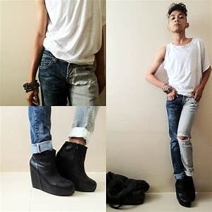 Janusz Ulpindo - Oxygen White One Sleeved Top Rrj Half Bleached Ripped Jeans Luna Black Boots ...