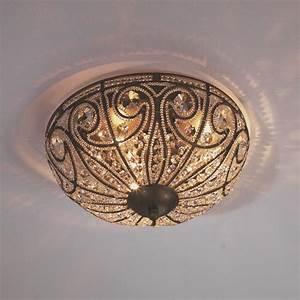 Vintage crystal ceiling light large flush mount