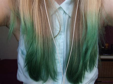 Green Dip Dyed Hair Hair Colors Ideas