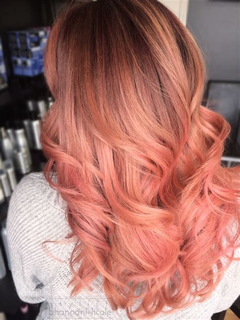 pretty  peach peach pink balayage haircolor hair