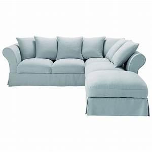 canape angle 6 places convertible lin bleu grise roma With tapis chambre enfant avec housse pour canapé roma maison du monde