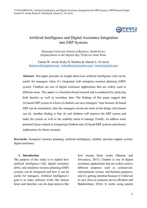 (PDF) Artificial Intelligence and Digital Assistance