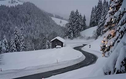 Snow Winter Road Background Turn 4k Ultra