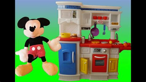 Mickey Mouse Cooking Food On Little Tikes Kitchen (gourmet