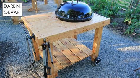 wooden tables diy weber grill cart bbq station