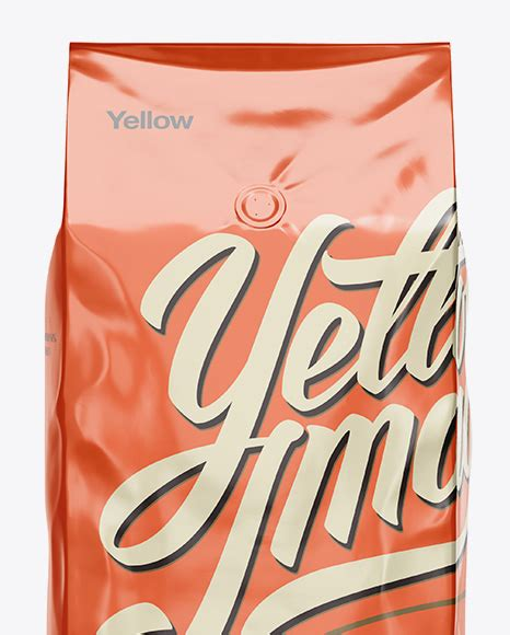 Contains a kaft texture for the carrier. 2,5 kg Foil Coffee Bag With Valve Mockup - Front View in ...
