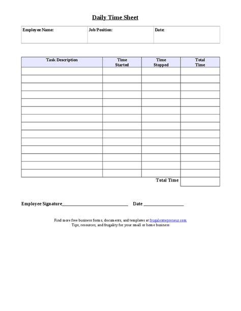 daily task sheet  employee printable receipt template
