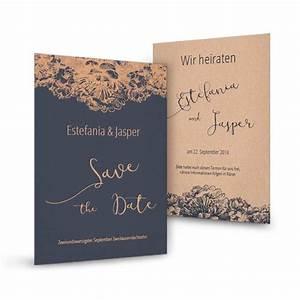 Save The Date Karte : save the date karte in dunkelblau mit blumen in kupfer ~ A.2002-acura-tl-radio.info Haus und Dekorationen