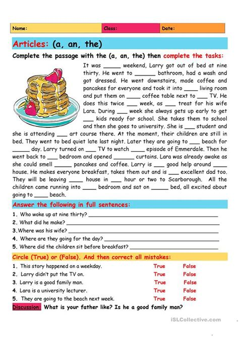 Articles: a/an/the - English ESL Worksheets for distance ...