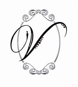 script monogram letter v embroidery design maybe With monogram letter v