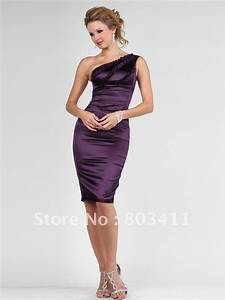 free shipping one shoulder sleeveless knee length wedding With one shoulder dress for wedding guest
