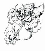 Clown Coloring Scary Pages Evil Drawing Creepy Tattoo Drawings Killer Clowns Face Cool Wicked Rajz Stencil Google Jester Tattoos Printable sketch template