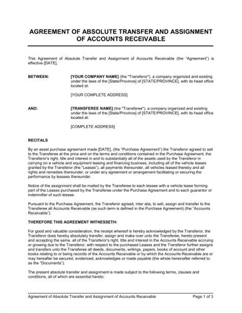 termination of assignment of leases and rents form agreement of absolute transfer and assignment of accounts