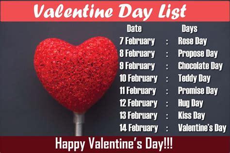 valentine week list  date sheet days  valentines