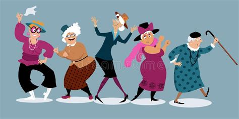 Old Ladies Dancing Clip Art Stock Vector Illustration Of