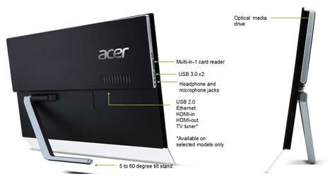 Tv Stand Thin by Acer Aspire A5600 23 Inch Touchscreen All In One Pc Intel