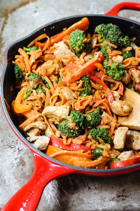 what to do with chicken 30 minute spicy thai peanut chicken sweet potato noodle stir fry ambitious kitchen