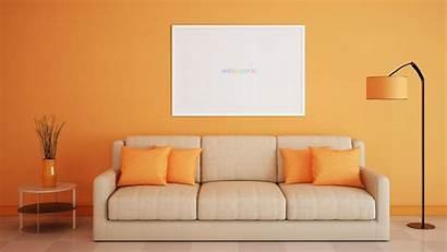 Living Sofa Orange Interior Desktop Sc Mockup