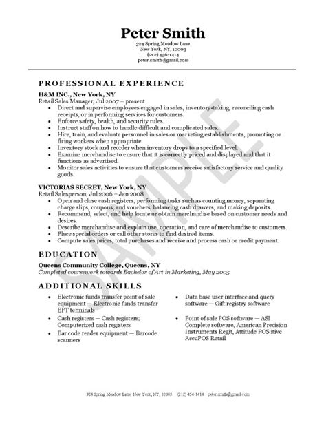 good resume exles retail resume exles for retail