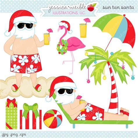 Sun Tan Santa Cute Digital Clipart Commercial Use Ok