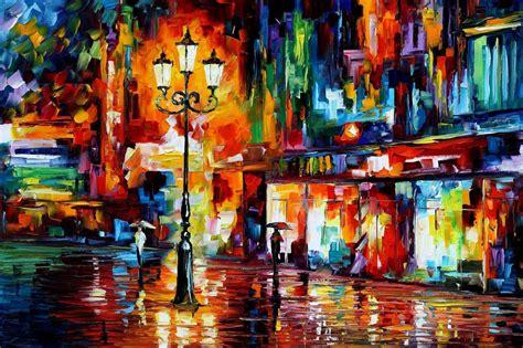 Leonid Afremov, Painting, Colorful, Street Light, Artwork, Umbrella Wallpapers Hd / Desktop And