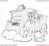 Snow Plough Clipart Driver Happy Illustration Waving Outlined Plow Royalty Vector Visekart Coloring Pages Template sketch template