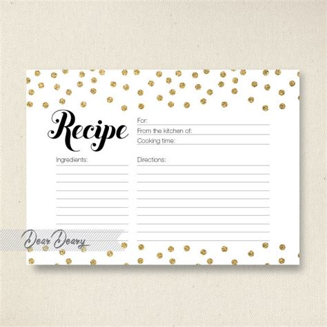 bridal shower recipe cards templates gold glitter confetti recipe card bridal shower recipe