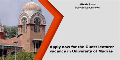 apply for the posts of guest lecturers in madras