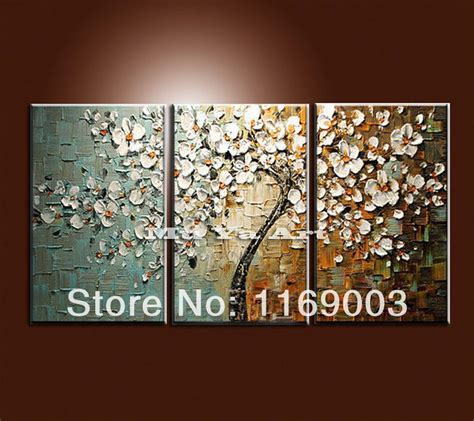 large  panel wall art abstract white flower tree