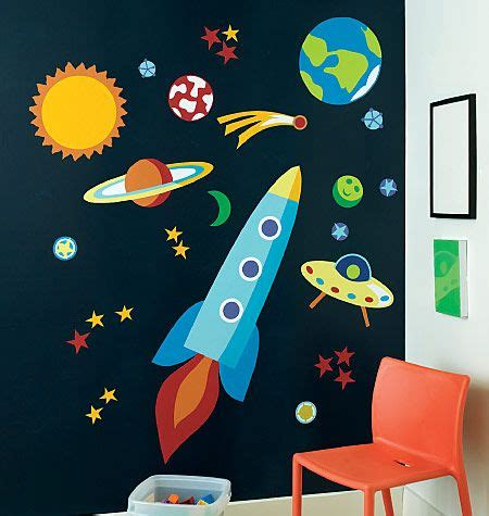 outer space wall mural planets rockets galaxy wallpaper