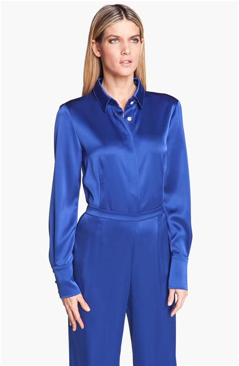 satin blouse st collection liquid satin blouse in blue