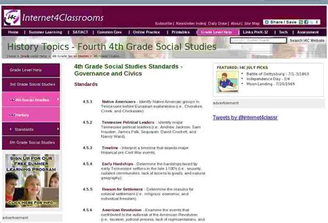 history topics fourth  grade social studies standards