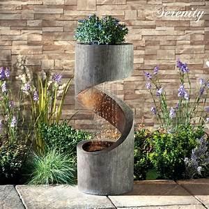 Serenity, Spiral, Cascade, Water, Feature, Planter, Led, 79cm, Garden, Fountain, Ornament