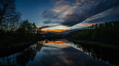 sunset clouds landscapes trees lakes rivers