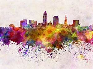 Cleveland Skyline In Watercolor Background Painting by