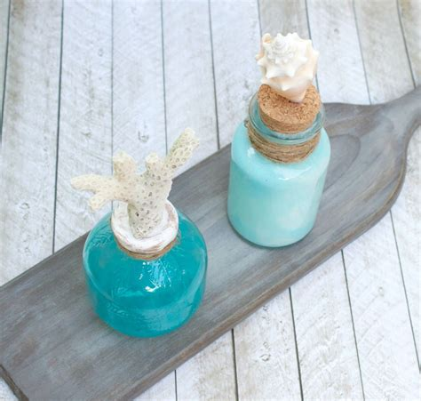 Coastal Themed Glass Bottle Table Centerpieces